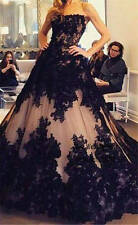 Vintage Black Lace Ball Gown Quinceanera Dress Evening Prom Gowns Formal Pageant