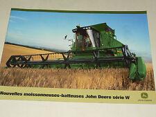Prospectus Tracteur JOHN DEERE Moissonneuse  W tractor traktor prospekt