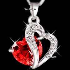 Silver 925 Ruby Diamond Necklace Women Gifts for Her Girls Birthday Christmas D4