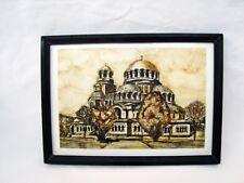 Vintage original watercolor painting Orthodox cathedral Christ church Al. Nevski