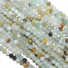 "GR334 Blue-Green Multi-Color Amazonite 4mm Round Gemstone Beads 15"""