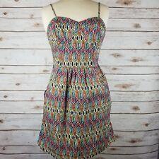 df08aa3a639 Mossimo Boho Geo Halter Spaghetti Strap Stretch Mini Dress Pockets Size M