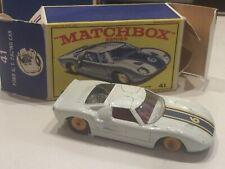 Matchbox #41 Ford G.T. Racer Car w/ Original Box