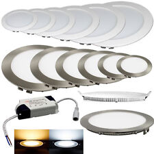 LED Panel 3 W bis 24W Einbaustrahler Ultraslim Rund Silber Gebürstet Weiß Silber