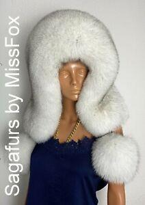Blue Fox huge full fur eskimo hat sagafurs with pompons