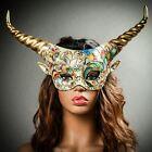 Victorian Masquerade Mask Antler Gold Horn Halloween Cosplay Party Wear Decor