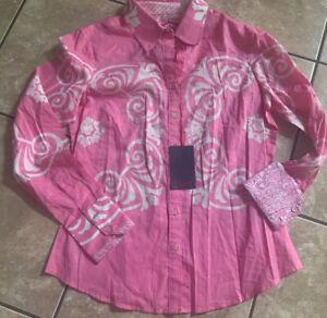 NWT Robert Graham S Women Cotton Printed Shirt Top Pink