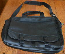 Black Soft Unisex Briefcase 8 Compartments and Zippered Area to Increase Size