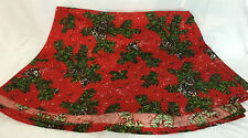 "Red Christmas Circular Tablecloth Holly Evergreen 104"" Across"