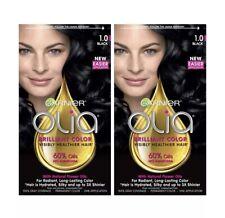 2X Garnier Olia  Brilliant Oil-Rich Permanent Hair Color 1.0 Black Ammonia-Free