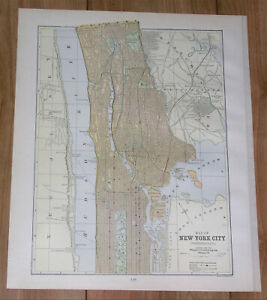 1886 ORIGINAL ANTIQUE CITY MAP OF MANHATTAN BRONX NEW YORK