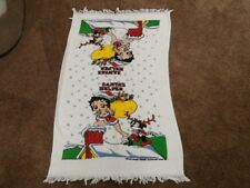 """Vintage BETTY BOOP Style CHRISTMAS HOLIDAY Bath Towels COTTON 38X22.5"""""""