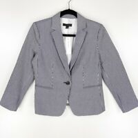 Ann Taylor Womens Suit Jacket Blue White Stripe Pocket Long Sleeve Stretch S New
