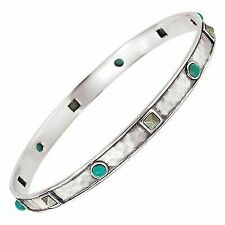"""Silpada Sterling Silver Dotted Turquoise and Pyrite Bangle Bracelet 6.75"""""""
