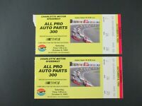 VTG 1993 Charlotte ALL PRO 300 Nascar 2 Ticket Stubs MARK MARTIN Car Race Winner
