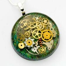 STEAMPUNK NECKLACE PENDANT STERLING SILVER RESIN BLUE GREEN COGS GEARS HAND MADE