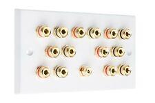 Speaker Wall Plate 7.1 14 Gold Binding Posts + 1 RCA AV Audio Non-solder