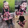 2PCS Infant Baby Kids Girl Princess Dress Outfits Romper Tops Floral Tutu Skirts