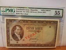 Czechoslovakia specimen from government bank scare 500 korun PMG 55