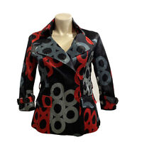 NEW Jerry T Large Jacket Black Gray Red Dot Crinkle 3/4 Sl 2 Pocket Art To Wear