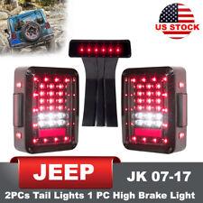LED Tail Lights Pair Third High Brake Light Rear Lamp for 07-17 Jeep Wrangler JK