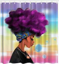 Gorgeous Black Woman Girl Shower Curtain Polyester & 12 Rings Bath Decor