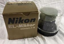 Vintage El-Nikkor Nikon 50mm f4 Enlarger Lens Boxed w/ Bubble Case