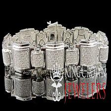 Genuine Diamond Mens Pave Set 14K White Gold Finish Round Cut Bracelet 1.75 Ctw