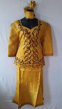 Women Clothing African Dashiki Skirt Suit Attire Mustard Free Size Print #9319