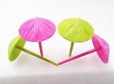 12 Beach Umbrella Cupcake Toppers Picks Hawaiian Luau Party Favors Pink Green