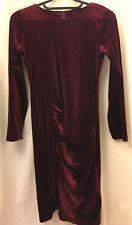 Burgundy velvet stretch mini dress Small Party 8 10 NEW