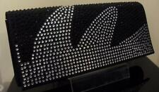 STUNNING BLACK FANCY DIAMONTE LOOK CLUTCH BAG HANDBAG***UK SELLER*