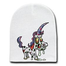 Zombie Unicorn Funny Animal Zombie Cartoon White Beanie Skull Cap Hat Winter New
