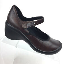 Clarks Privo Brown Leather Mary Jane Shoes Wedge Heels Womens 6.5 M 76023