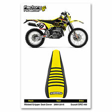 2000-2015 SUZUKI DRZ 400 Black/Yellow/Black RIBBED SEAT COVER BY Enjoy MFG
