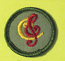 SONGSTER Junior Girl Scout NEW Badge 1960s Patch Treble & Base Clef Multi=1 Ship