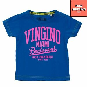 VINGINO T-Shirt Top Size 18M / 86CM Coated Front Logo Snap Closure Crew Neck