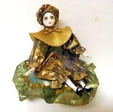 Vintage MUSIC BOX Ceramic Bisque Harlequin Clown DOLL on Pillow Figurine Gold