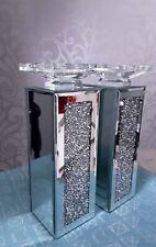 Large Crushed Diamond candle holder pillar