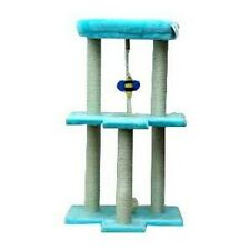 PALE BLUE CAT SCRATCHING CENTRE WITH BED AND BEE TOY  * FROZEN COLOURS * CTR 03