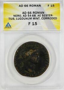 Ancient Roman, Nero AD 66 AE Sestertius, Rome Mint  ANACS F15