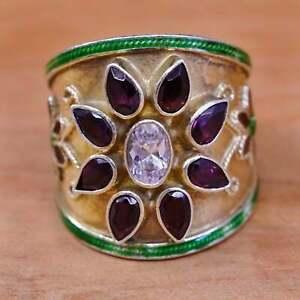 Size 7.5, vermeil gold over Sterling silver ring enamel flower 925 ruby Crystal