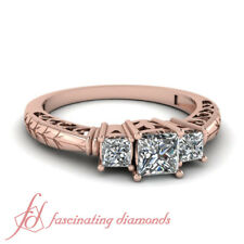 Vintage Style Three Stone Princess Cut Womens Diamond Engagement Ring 0.90 Ct