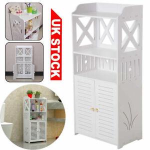 Wooden Bathroom Shelf Cabinet Cupboard White Bedroom Storage Unit Free Standing