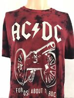 Vintage Look AC DC Red And Blue Tye Dye T Shirt Rocker/ Hippie Size Large