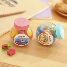 20Pcs Mini Cute Bottle Rubber Cartoon Animal Eraser