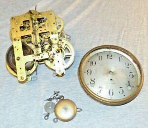 Antique Seth Thomas Brass Mantel Clock Movement, Pendulum, Dial & More 89 I