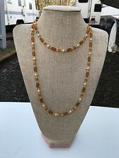 HDMD by Cyndi Super Long Necklace of Golden Yellow Glass Beads and Glass Pearls