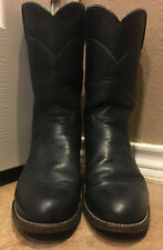 Justin Boots Womens sz 6A Navy Blue Leather Roper Cowboy Boots style#L3057 EUC