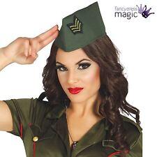 * 40s Militar Ejército Soldado Segunda Guerra Mundial Adulto Sofisticado Vestido Traje Accesorio lado Gorra Sombrero *
